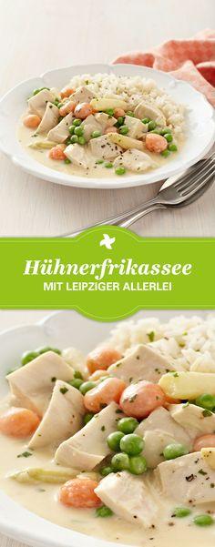 """Ein tolles Gericht für Kinder! Thermomix ® Rezept für Hühnerfrikassee mit Leipziger Allerlei aus der Kollektion """"Kinderleicht"""" im Thermomix ® Rezept-Portal www.cookidoo.de."""