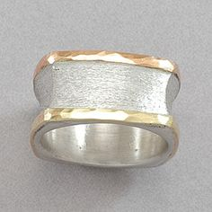 David Tishbi Gold and Sterling Silver Square Ring
