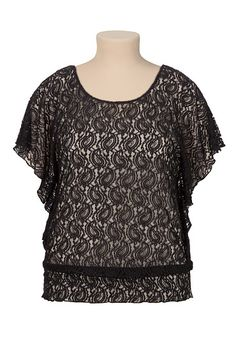 Smocked Bottom Flutter Sleeve Lace Top (original price, $32) available at #Maurices