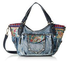 #Desigual Tasche Jeans - Modell Rotterdam Ethik Deluxe. Muster: floral, ethnisch, exotisch, blau.