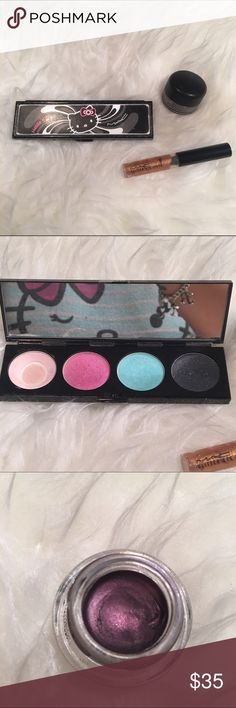 MAC Hello kitty Bundle LIMITED EDITION!!! Used hello kitty Pallete as you can see one of the eyeshadows hit pan while the others are barely used. MAC glitter eye liner  MAC MACROVIOLET fluidline still a lot of product left MAC Cosmetics Makeup Eyeshadow