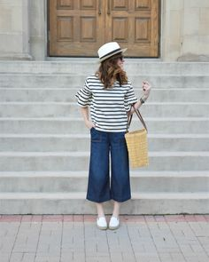 Learn how to pair a striped bell sleeve top from jcrew 3 ways on art in the find! click to read the post