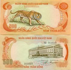 South Viet Nam 500 Dong (1972) -  Obverse: Palace of Independence; Reverse: Tiger.