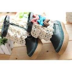 Cute Green Girl Girls Kids Fashion Dress Boots SKU-133244