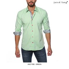 Jared Lang 100% Cotton Dress Shirt with Contrast Collar & Cuff - Assorted Colors & Extended Sizes at 77% Savings off Retail!