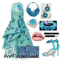 """""""Red carpet look"""" by chocopiesweet ❤ liked on Polyvore featuring Costarellos, Fairchild Baldwin, BaubleBar, Gianvito Rossi, Edie Parker and LE VIAN"""