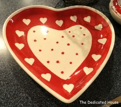 Red And White Heart Serving Platter For Your Valentine