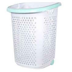 Rolling Laundry Hamper White With Pleasant Turquoise Handles - Room Essentials, White/Blue Dorm Storage, Laundry Storage, Laundry Room, Laundry Hamper With Lid, Laundry Basket, Dorm Furniture, Turquoise Room, Lift Design, College Dorm Rooms