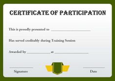 Training Participation Certificate Template  Training