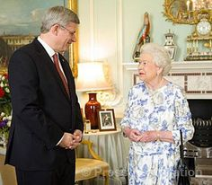 Queen Elizabeth with the Canadian Prime Minister stephen harper