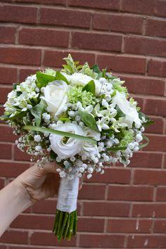 Cream & green brides tied bouquet
