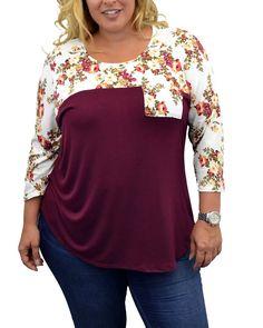 42390ac55c7 3 4 Sleeve Floral Top Plus Size. Shirt BlousesShirtsColor ...