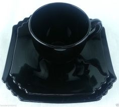 Vintage Black Ebony Amethyst Glass tea cup saucer under plate Beautiful Kitchen Designs, Beautiful Kitchens, Glass Tea Cups, Milk Glass, Black Amethyst, Antique Glassware, Tea Cup Saucer, Black Glass, Vintage Black