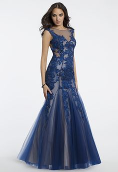 Camille La Vie Illusion Plunge Lace Prom Dress or Guest of Wedding Dress