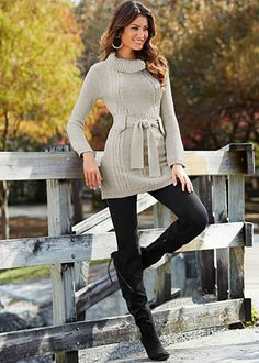 Long sleeve belted sweater, legging