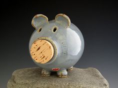 Piggy Bank in Rustic Blue  Pottery Pig  Heart by DirtKickerPottery