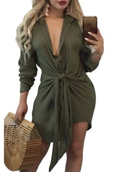 Army Green Knot Tie Accent Button Down Long Sleeve Shirtdress modeshe.com