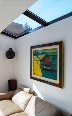 Loft extension with glazed roof Loft Conversion Roof, Loft Conversions, Side Extension, Extension Ideas, Loft Dormer, Conservatory Roof, Living Etc, Dark House, Side Return