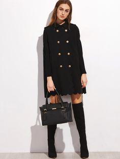 Veste cape avec bouton - noir -French SheIn(Sheinside)