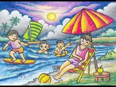 Art is fun with these art projects for kids that will assist them be creative and develop drawing, painting and crafting Oil Pastel Paintings, Oil Pastel Art, Oil Pastel Drawings, Indian Art Paintings, Oil Pastels, Drawing Pictures For Kids, Easy Drawings For Kids, Drawing For Kids, Kids Art Class