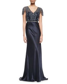 Short-Sleeve Beaded Mesh Bodice Satin Gown by Catherine Deane at Neiman Marcus.