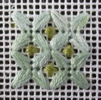 Part Eyelet with Cross needlepoint stitch. A picture, graph, how to work this stitch, how difficult and other names are included on this page. Needlepoint Stitches, Embroidery Stitches, Hand Embroidery, Needlework, Stitch 2, Cross Stitch, Bargello, Plastic Canvas Patterns, Tatting