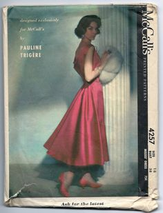 Vintage McCall's 4257 Pauline Trigere  Misses Dress Sewing Pattern