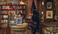 The Shop Around the Corner...Wish I owned this book store!  Twinkle lights and all!