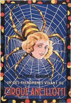 """ANCILLOTTI CIRQUE. """"La Femme araignée"""".Lithographie en couleurs sur fond"""