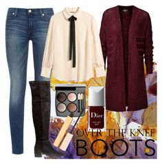 casual outfit with over the knee boots, jeans and burgundy cardigan