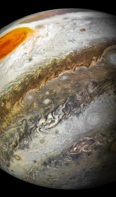 Junocam, PJ12-94. 2018-04-05 01:54 UT. Credit : NASA/JPL-Caltech/SwRI/MSSS/Kevin M. Gill. Mission Phase : PERIJOVE 12