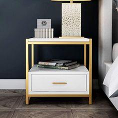 Gold Bedroom Decor, Modern Bedroom Furniture, Room Ideas Bedroom, White Furniture, Furniture Decor, White Bedroom, Side Tables Bedroom, Sofa Side Table, White Side Tables