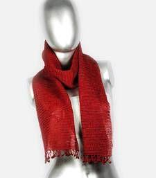 Buy Silky Crochet Stole | Maroon scarf online