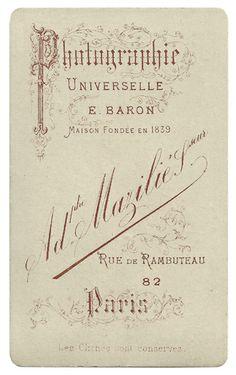 Adolphe MAZILIÉ, successeur de BARON, Photographie Universelle - Paris  - (verzameling fotos)