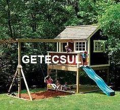 casinha madeira com playground planta p construção ref.133