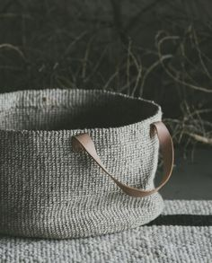 Image of Solo woven basket with leather handles