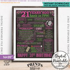 "21st Birthday 1996 Printable Chalkboard Style Poster -- A fun birthday poster filled with facts, events, and tidbits from the USA in 1996. Makes an excellent gift or party decoration! *** DIGITAL PRINTABLE FILE ONLY! No physical prints will be sent *** • INSTANT DOWNLOAD! Simply order, download, print and enjoy! The print comes as seen in the previews – no changes can be made to Instant Download digital files. • 16x20"" digital printable file. 16x20 can be printed as 16x20, 8x10 & 4x5. There…"