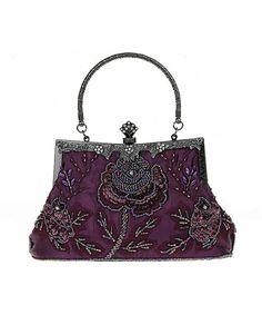 Women s Exquisite Antique Seed Beaded Party Clutch Rose Evening Handbag -  Purple - C311XRD39EX dfc95998104b8