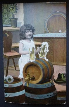 Little Girl With Beer Vintage Postcard Tapping the Keg