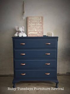 Cobalt Blue Vintage Drawers! I love the Copper handles on this one!