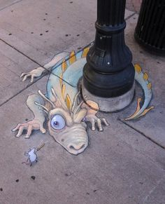 Amazing Street art of David Zinn Sluggo 413 Sidewalk Chalk Art Of Sluggo By David Zinn 3d Street Art, Street Art Graffiti, Street Art Utopia, Graffiti Artwork, Amazing Street Art, Amazing Art, Graffiti Lettering, Graffiti Artists, Amazing Drawings