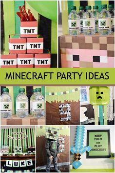 Boy Minecraft Birthday Party Ideas www.spaceshipsandlaserbeams.com