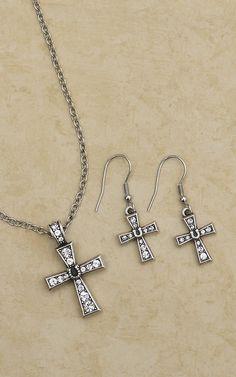Montana Silversmiths Crystal Cross & Horseshoe Jewelry Set
