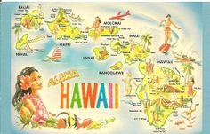 Souvenir treasure find, a chrome postcard with fun illustrations of popular locations in the Hawaiian Islands, Aloha Hawaii, colorful map Hawaiian Art, Hawaiian Tattoo, Vintage Hawaiian, Hawaiian Theme, Aloha Hawaii, Honolulu Hawaii, Hawaii Vacation, Vintage Travel Posters, Vintage Postcards