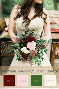 Wedding Color Palette - Deep marsala mixed with lush fern and soft touches of pink. Fall Wedding Colors, Wedding Color Schemes, Green Wedding, Floral Wedding, Wedding Flowers, Green And Burgundy Wedding, December Wedding Colors, Cream Wedding Colors, Wine Colored Wedding