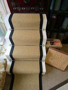 50cm Wide Gold Natural Beige Sisal Stair Runner Black Herringbone Tape Border | eBay Sisal Stair Runner, Black Stairs, Beige, Priest, Cottage, Kitchen, House, Ebay, Cooking