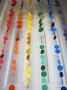 Rainbow Garland, Paper Garland, Garland Backdrop strands, Colorful Garland, Birthday Garland. $24.00, via Etsy.