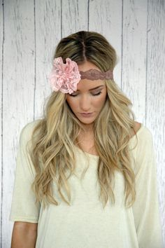 Flower Lace Headband Stretchy Dusty Taupe Lace by ThreeBirdNest, $22.99