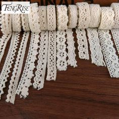 FENGRISE Apparel Sewing Fabric 5 Yards DIY Ivory Cream Black Trim Cotton Crocheted Lace Fabric Ribbon Handmade Accessories Craft -- View the item in details by clicking the image