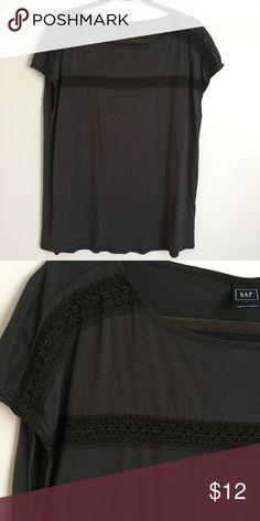 Gap Maternity Tshirt Worn once! Gap Maternity Tshirt. Great stitching detail along the top. Color is a greyish navy GAP Tops Tees - Short Sleeve